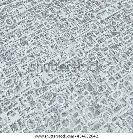 Keys abstract many white models background, 3d illustration - stock photo