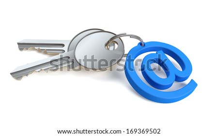 Keys attached to a keychain in the shape of email
