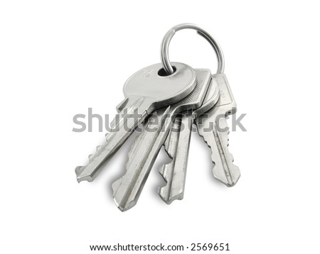 Keys isolated on white background, clipping path included. - stock photo