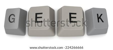 keys of an old keyword forming the word: geek (3d render) - stock photo