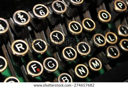 Keys of Old Typewriter - stock photo