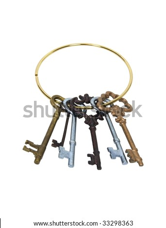 Keys on a keyring representing unlocking an idea, treasure, or love - path included