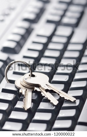 Keys on computer keyboard, symbolizing computer related security - stock photo