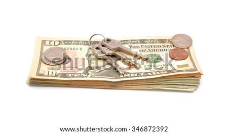 keys on money dollars isolated - stock photo