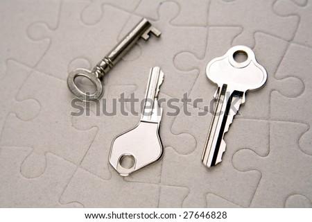 Keys on puzzle - stock photo