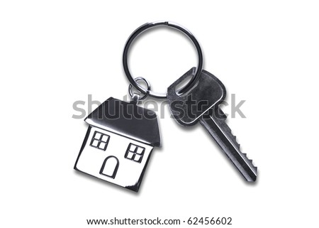 Keys to a new house isolated on white with clipping path. - stock photo
