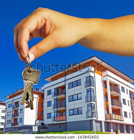 Keys to brand new apartment - stock photo