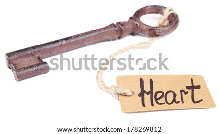 Keys to heart, Conceptual photo. Isolated on white