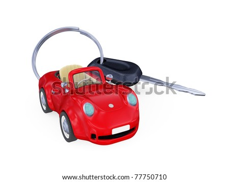 Keys to the car with trinket. Isolated on white background. 3d rendered - stock photo
