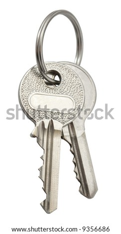 Keys with blank label. Isolated on white. - stock photo