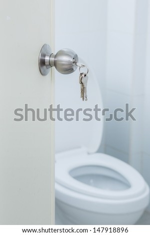 Keys with toilet door knob