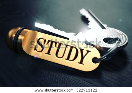 Keys with Word Study on Golden Label over Black Wooden Background. Closeup View, Selective Focus, 3D Render. Toned Image. - stock photo