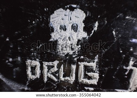 Keyword drug written with cocaine - stock photo