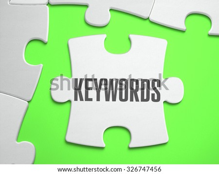 Keywords - Jigsaw Puzzle with Missing Pieces. Bright Green Background. Close-up. 3d Illustration. - stock photo