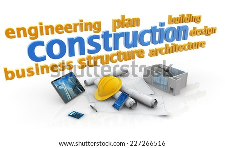 keywords of construction industry, blueprints, house model and safety helmet - stock photo