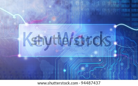 Keywords  on  blue background. - stock photo