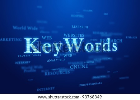 Keywords. Words cloud on deep blue background. - stock photo