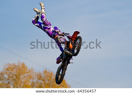 KHABAROVSK RUSSIAN- OCTOBER 9:  -Vanni Oddera in action at X Fighters freestyle on October 9, 2010 in Khabarovsk Russia - stock photo