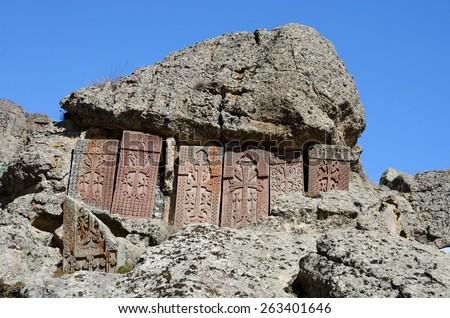 Khachkars (cross-stones) of Geghard monastery,medieval christian art,Armenia, Caucasus, unesco world heritage site  - stock photo