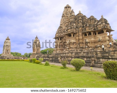 Khajuraho temples located in India. The Khajuraho temples contain some sexual or erotic art outside the temple or near the deities. They are World Heritage.