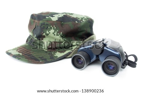 Khaki cap with binoculars on white background - stock photo