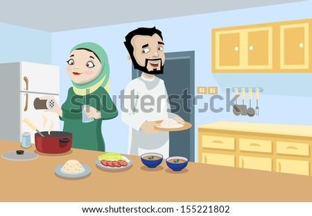 Khaliji Couple In The Kitchen - stock photo