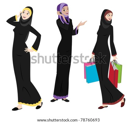 Khaliji Women Icons In Standing Positions - stock photo