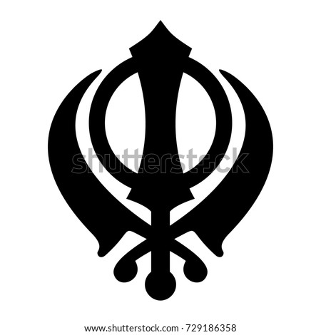 khanda sikh icon isolated on white stock illustration