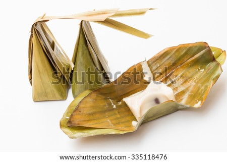 Khanom Sod-Sai (Steamed Flour with Coconut Filling),The thai dessert cuisine on white background.