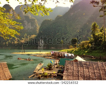 Khao Sok National Park, Mountain and Lake in Southern Thailand,Taken by iphone. - stock photo