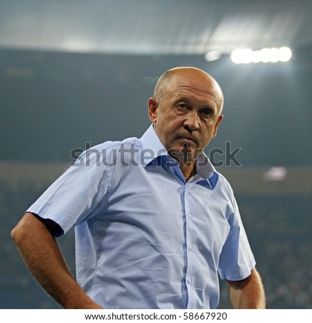 KHARKIV, UKRAINE - AUGUST 7: FC Vorskla Poltava head coach Mykola Pavlov during football match vs. FC Metalist Kharkiv, August 7, 2010 in Kharkov, Ukraine