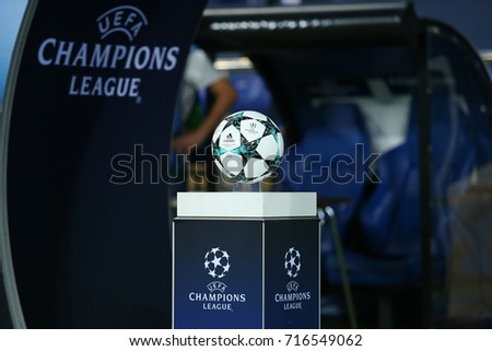 KHARKIV, UKRAINE - 13 SEPTEMBER, 2017: Adidas 2017-2018 Champions League group stage match ball. White, navy and light blue design. Official UEFA Champions League white logo on blue gradient podium.