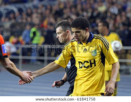 KHARKIV, UKRAINE - SEPTEMBER 25: FC Metalist Kharkiv FW Barcellos Freda Tyson (R) in action during football match vs. FC Shakhtar Donetsk (1:2), September 25, 2010 in Kharkov, Ukraine