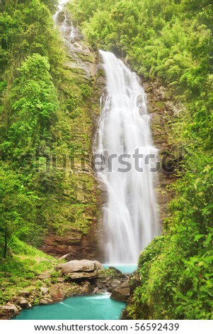 Khe Kem Waterfall. Pu mat national park. Vietnam - stock photo