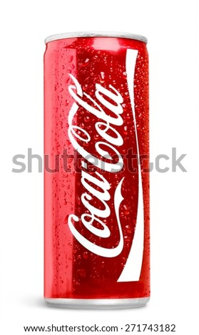 KHERSON, UKRAINE - NOVEMBER 14, 2014: Atlanta. Coca-Cola isolated on white background. Coca-Cola is a carbonated soft drink sold in stores, restaurants, and vending machines throughout the world. - stock photo