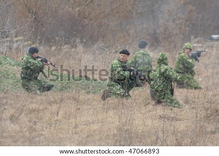 KHMELNITSKY  JAN 23:Ukrainian soldiers are part of the missile carried out planned exercises in military training ground in January 23 2007 in Khmelnitsky Ukraine - stock photo