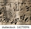 Khmer warriors from the bas-relief of Bayon Temple in the Angkor Area near Siem Reap, Cambodia. - stock photo