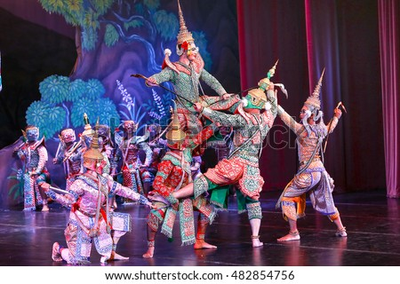 khon,kind of Thai drama,Nakhornratchasima,Thailand- 27 August 2016,KHON is Thai treditional art classical masked ballet,at Nakhornratchasima Performing theatre theatre,THAILAND