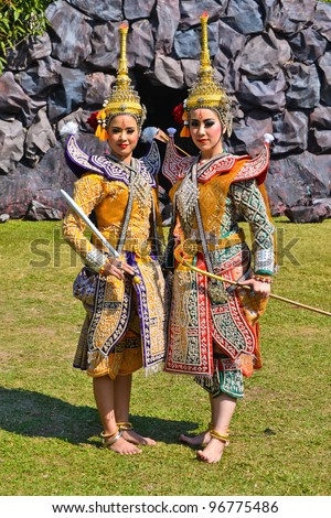 Khon Show a drama Ramayana with beautiful tradition costume
