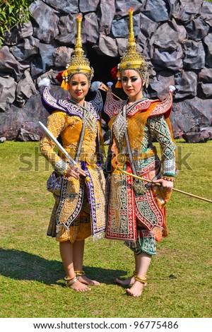 Khon Show a drama Ramayana with beautiful tradition costume - stock photo