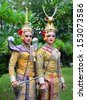 Khon Show Ancient Performance In Beautiful Costume Of Thailand - stock photo