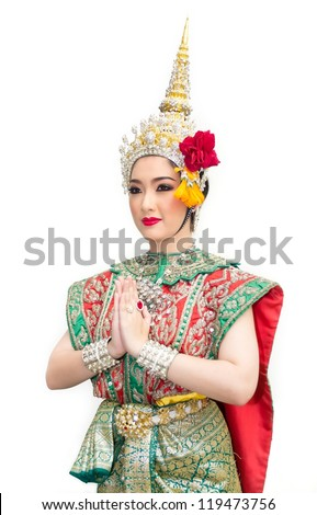 khon show asian woman in traditional costume of thailand - stock photo