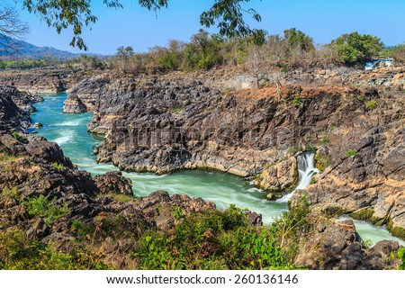 khong pha peng waterfalls, champasak, southern laos - stock photo