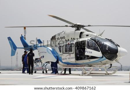 Khonkean province, Thailand- April,2016 : emergency aeromedical evacuation training - stock photo