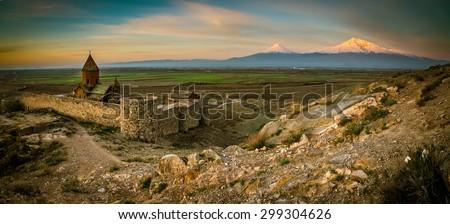 Khor Virap Monastery panorama at sunrise in front of Ararat Mountain, Armenia - stock photo