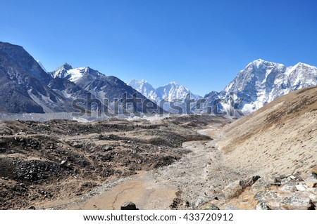 Khumbu Glacier and himalaya peaks. Himalayas mountain panorama - view from way to Everest Base Camp - Sagarmatha National Park, Nepal.