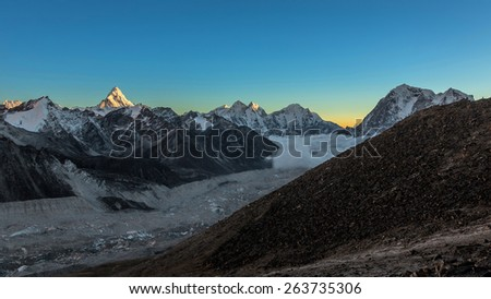 Khumbu Glacier in evening. View from Kala Patthar (5600 m) - Everest region, Nepal, Himalayas - stock photo