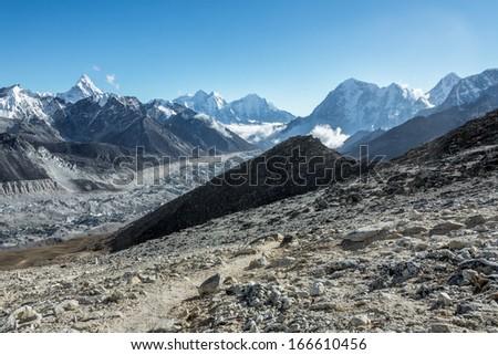 Khumbu Glacier. View from Kala Patthar (5600 m) - Everest region, Nepal, Himalayas - stock photo