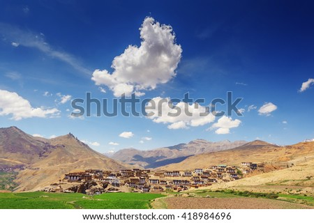 Kibber village in himalayas mountain - stock photo