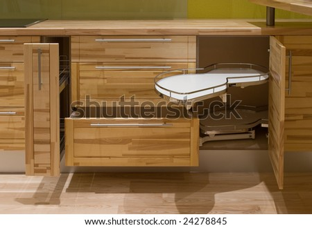 kichen furniture variations, drawers, shelves - stock photo